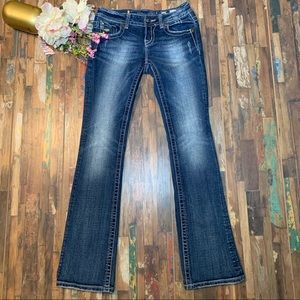 MISS ME | Sequin Bling Flap Pocket Bootcut Jeans